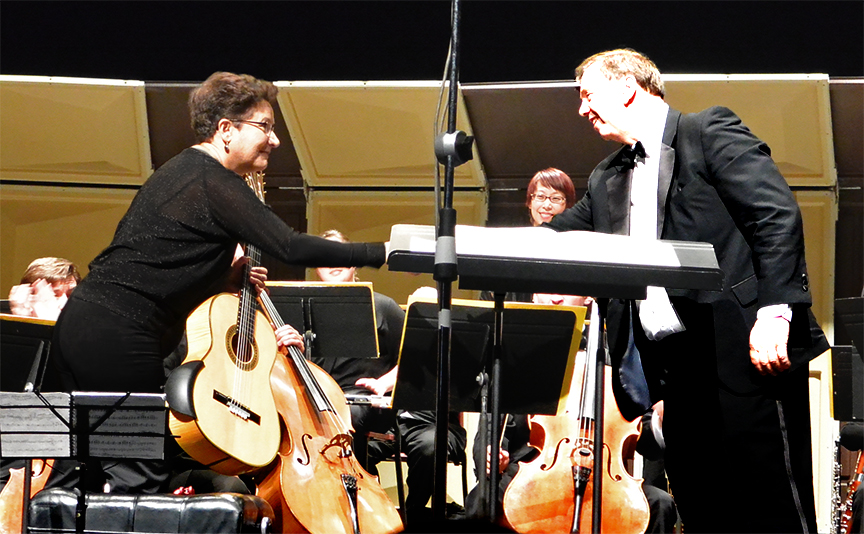 AMR with conductor Mr. Lou Kosma after the NJCU Orchestra concert at the Margaret Williams Theater in April 2014.